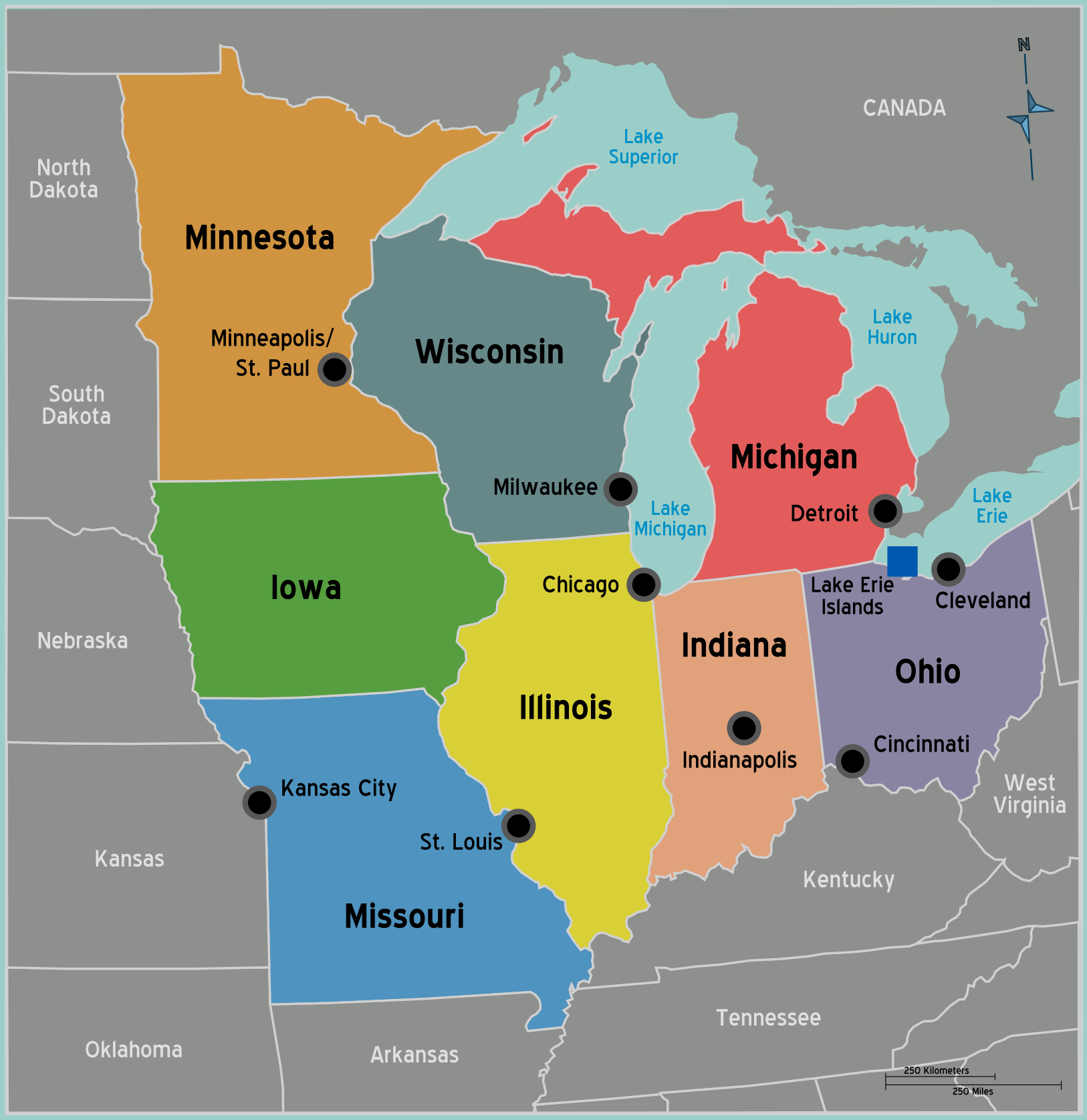 Midwest Map With Capitals Midwest Free Download Images World Maps The Map Of The United Map Of Usa With States And Capitals And Major Cities