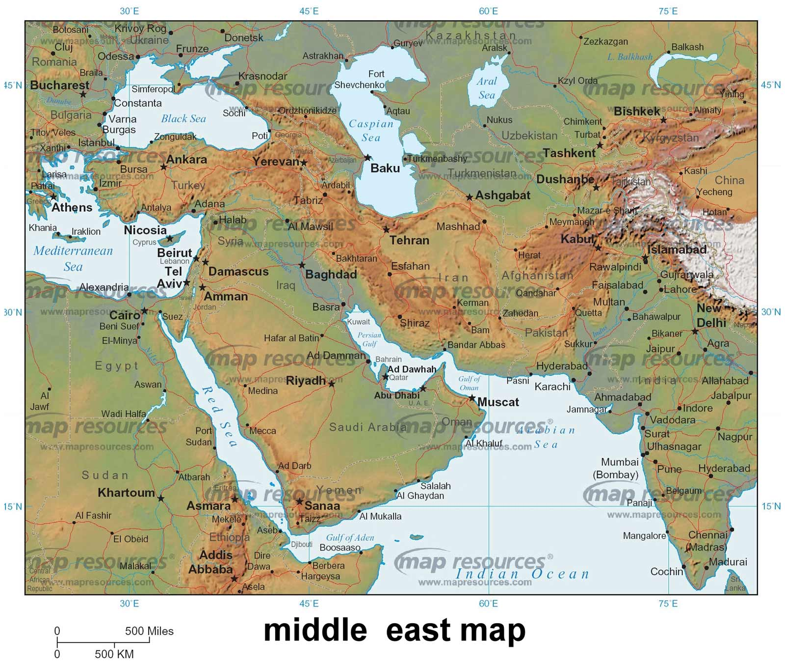 Images of Labeled Physical Map Of The Middle East - #rock-cafe