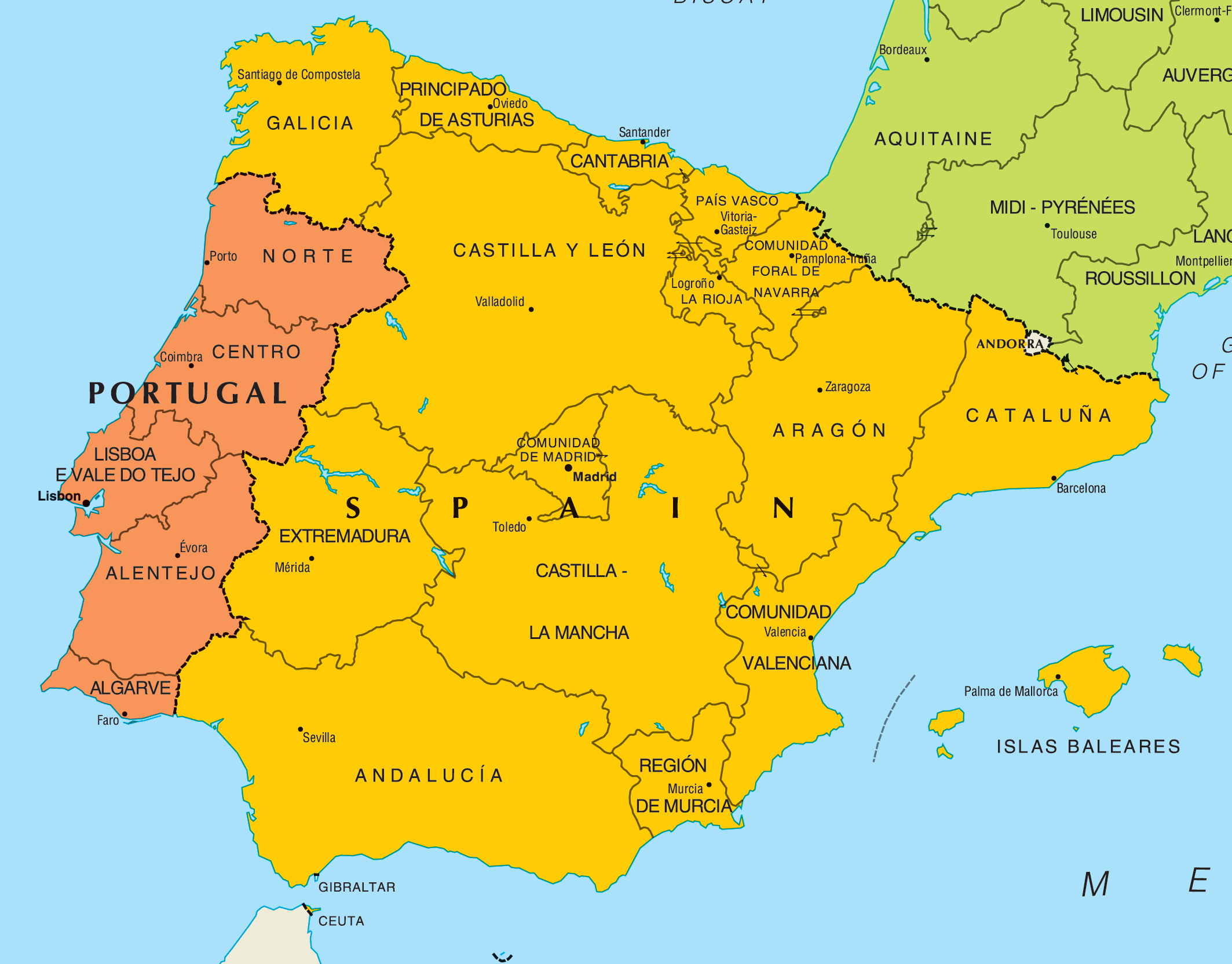 large map of spain with Portekiz on Portekiz as well 10TO7 Timanfaya National Park Canary Islands Spain furthermore Clipart Continents Of Europe Asia furthermore Sa Talaiassa also Manzanares El Real Panorama Castel Of Mendoza 7520.